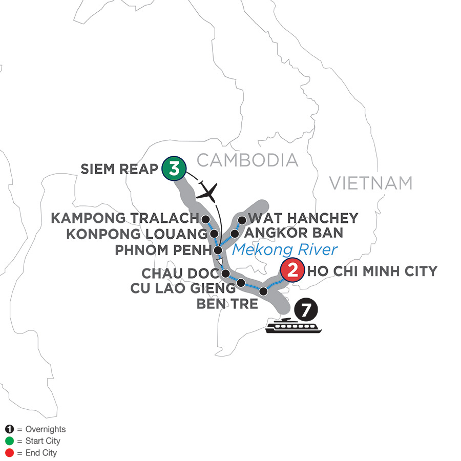 Itinerary map of Fascinating Vietnam, Cambodia & the Mekong River – Southbound