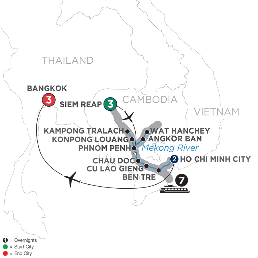 Itinerary map of Fascinating Vietnam, Cambodia & the Mekong River with Bangkok – Southbound