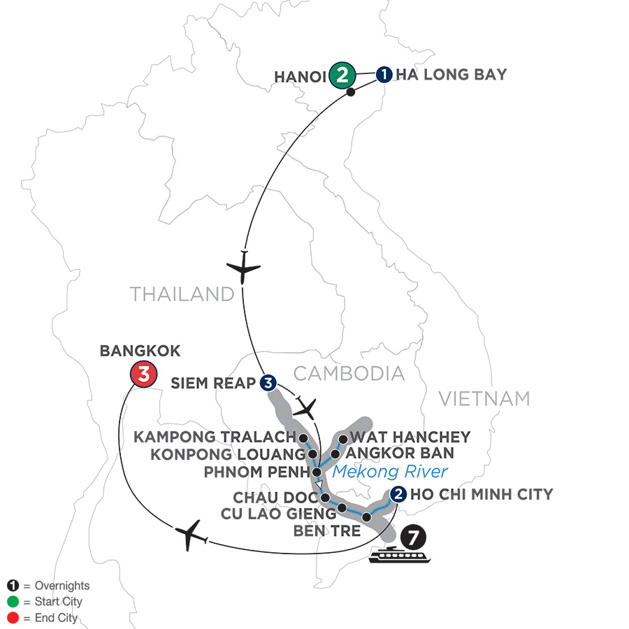 Itinerary map of Fascinating Vietnam, Cambodia & the Mekong River with Hanoi, Ha Long Bay & Bangkok – Southbound