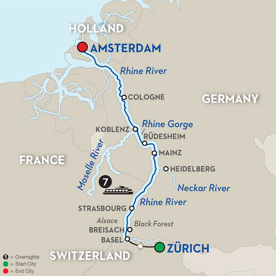 Itinerary map of Festive Season on the Romantic Rhine 2019 Basel to Amsterdam