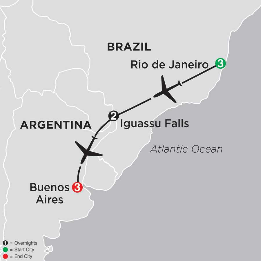 Itinerary map of The Best of Brazil & Argentina