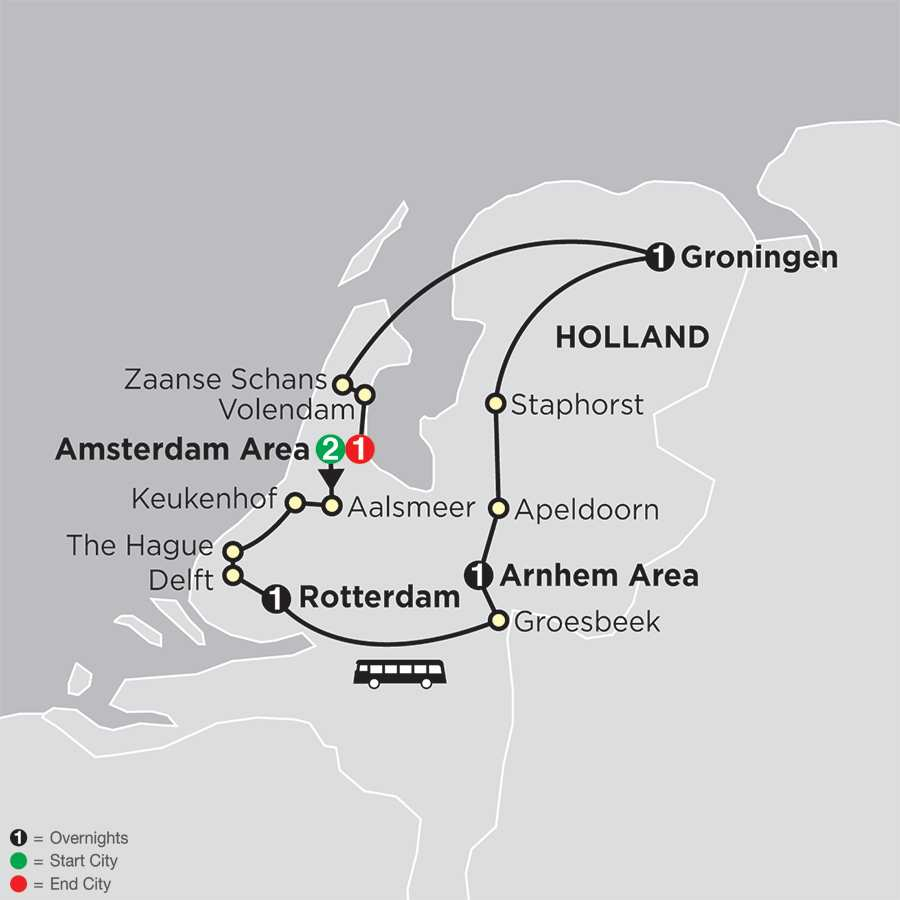 Itinerary map of Best of the Netherlands
