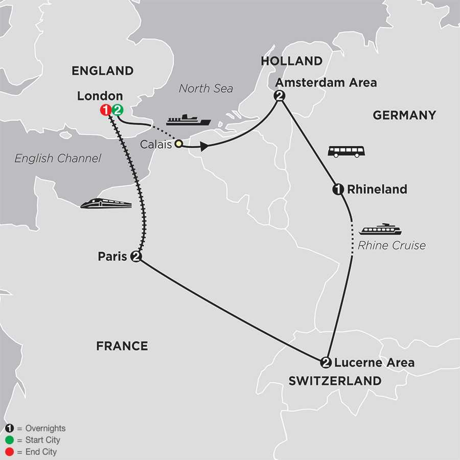 Itinerary map of A Taste Of Europe With Extended Stay In London