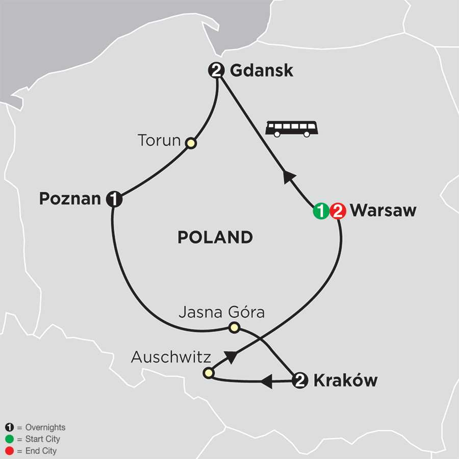 Itinerary map of Portrait of Poland