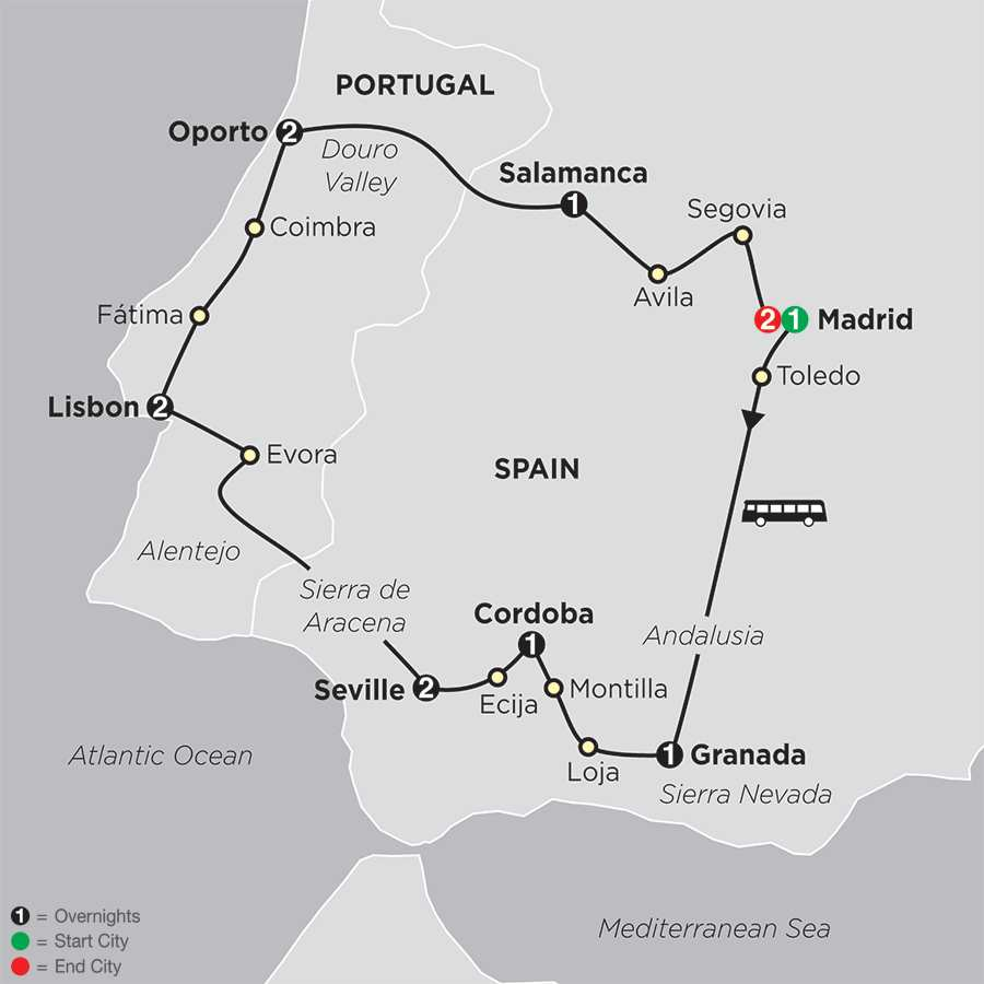 Itinerary map of The Best Of Spain & Portugal