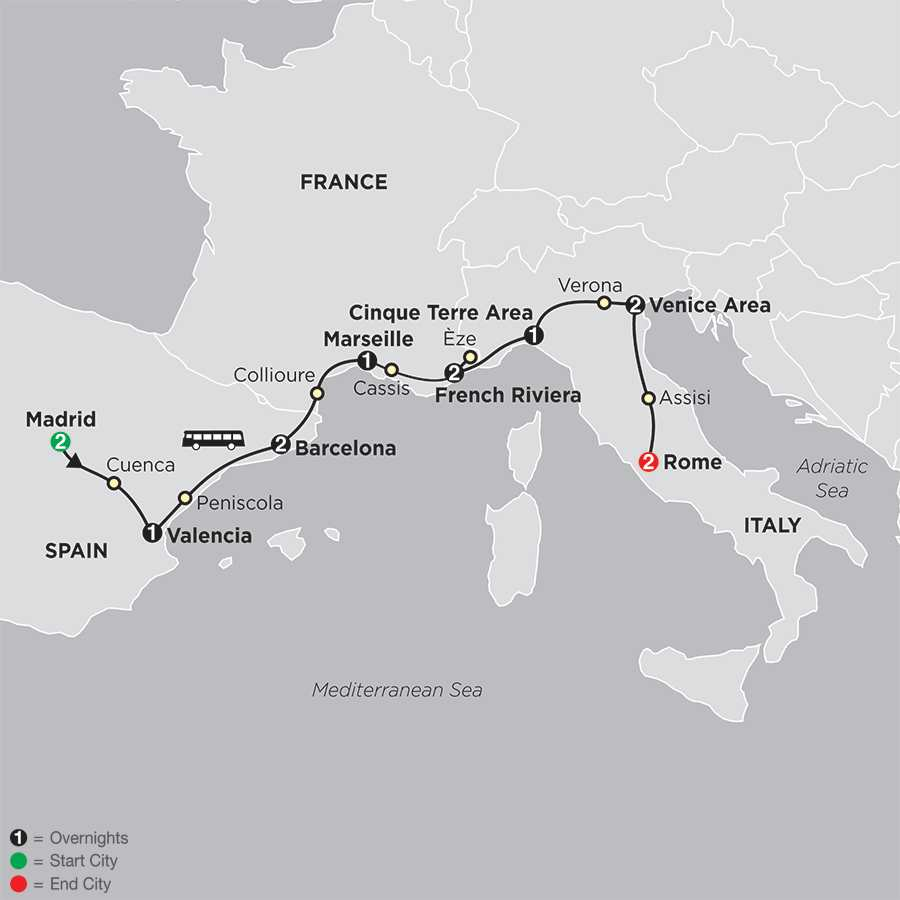 Itinerary map of MEDITERRANEAN FLAVORS