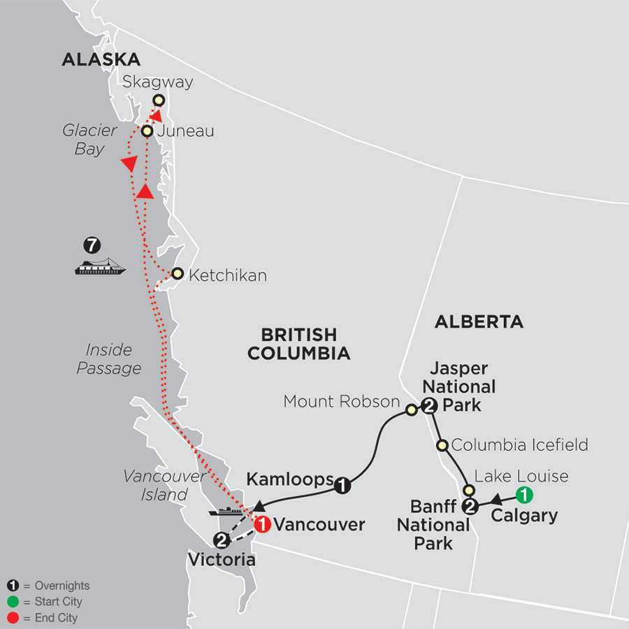 Itinerary map of HEART OF THE CANADIAN ROCKIES WITH ALASKA CRUISE