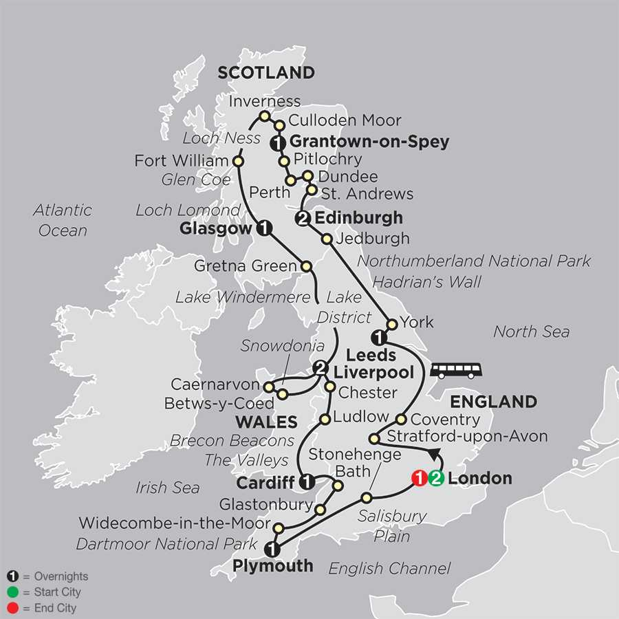 Itinerary map of England, Scotland & Wales