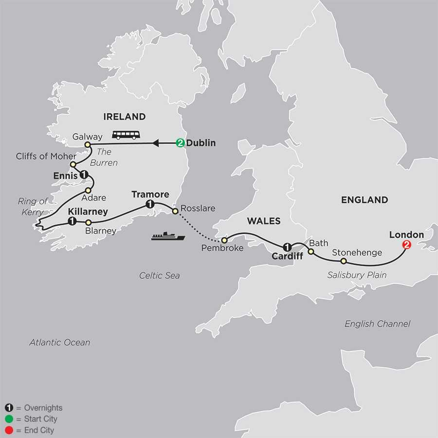 Itinerary map of From Dublin to London