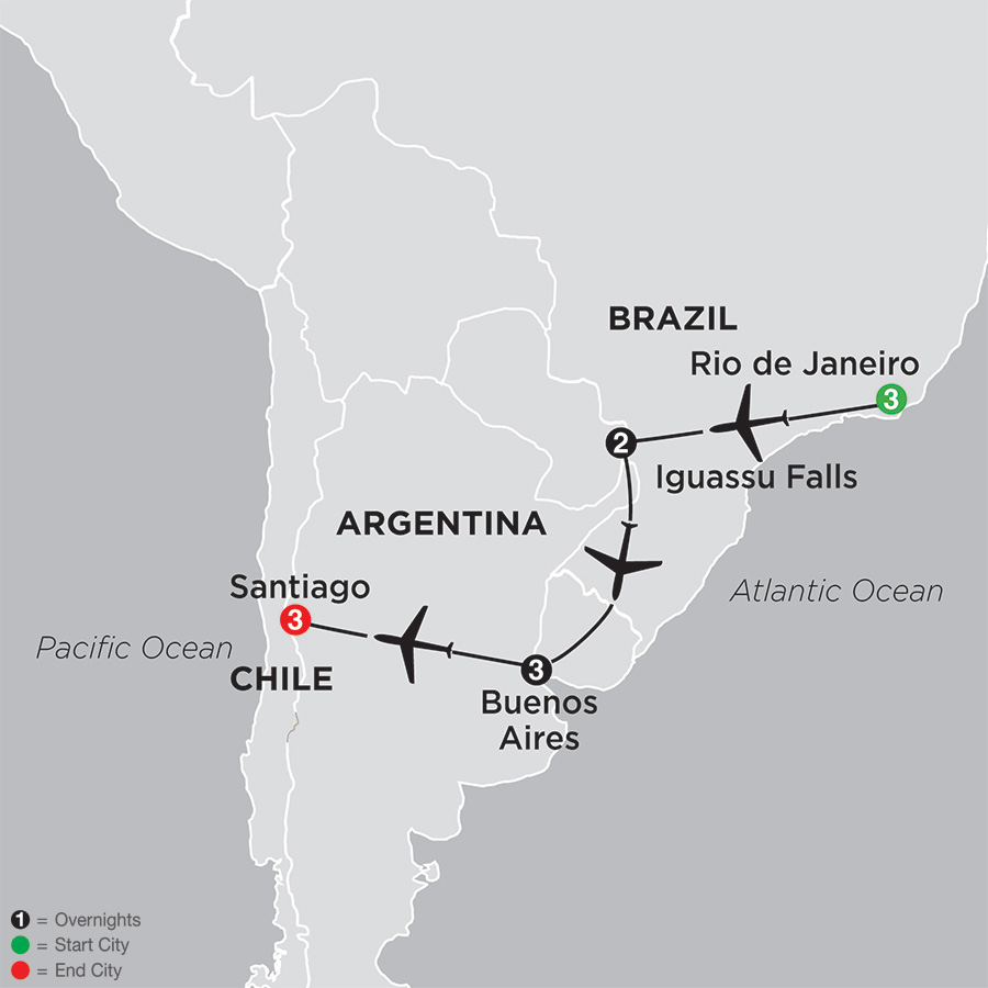 Itinerary map of Brazil, Argentina & Chile Unveiled
