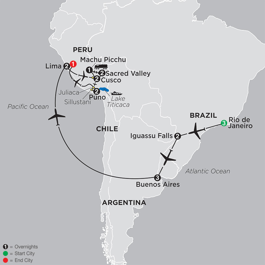 Itinerary map of Ultimate South America