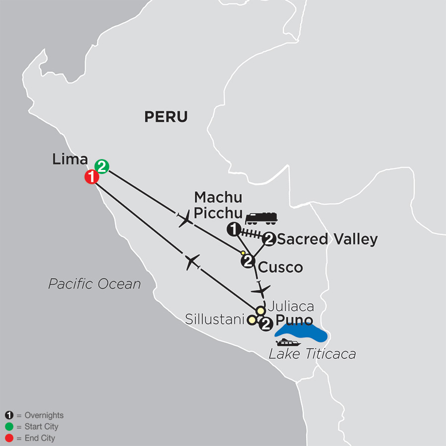 Itinerary map of Mysteries of the Inca Empire