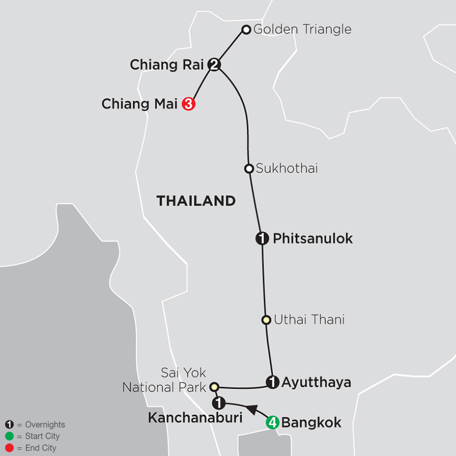 Itinerary map of Thailand Experience 2018 from Bangkok to Chiang Mai