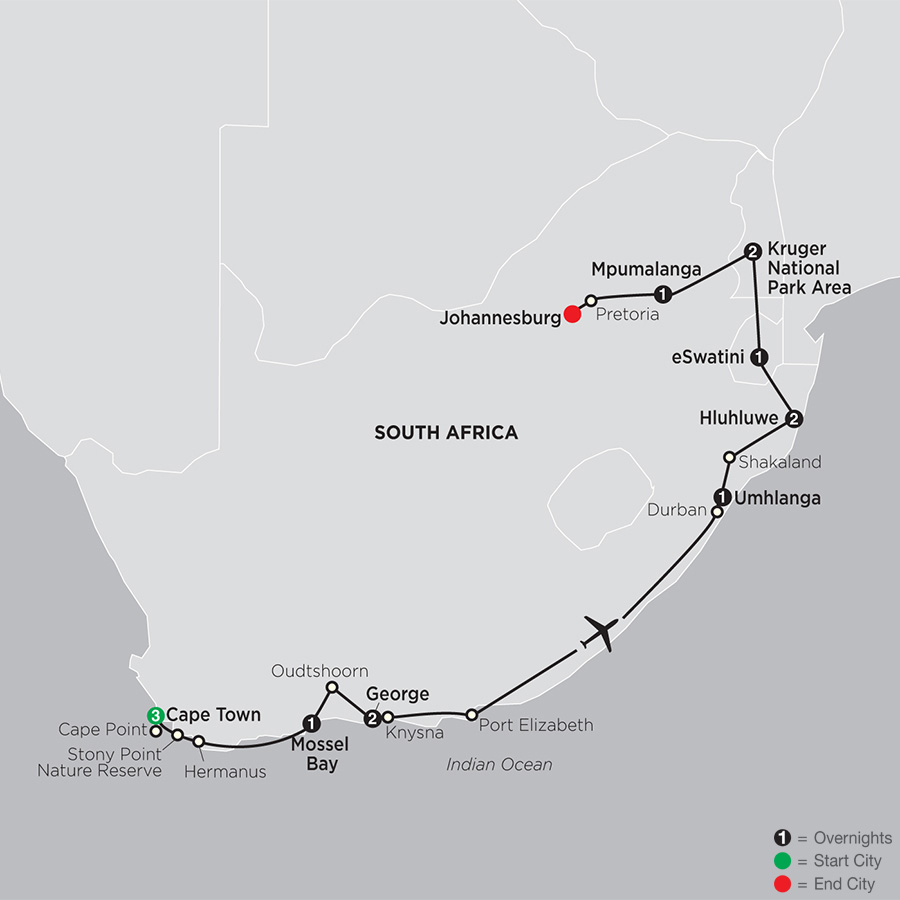 Itinerary map of South Africa from the Cape to Kruger