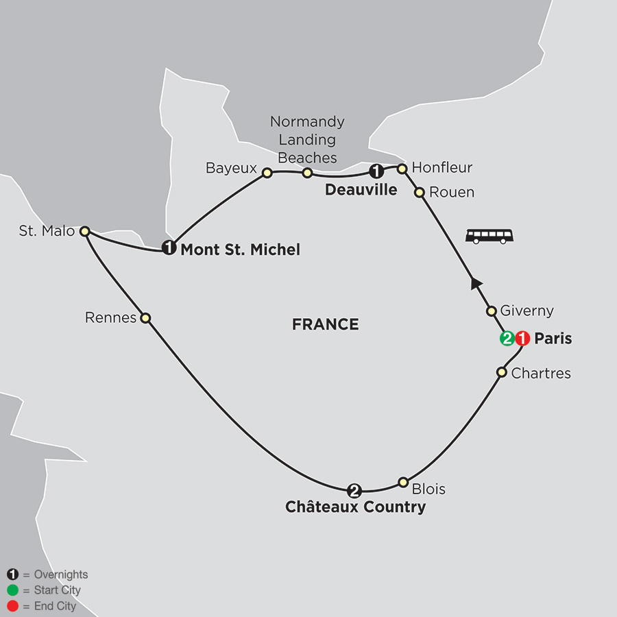 Itinerary map of Paris, Normandy and the Loire
