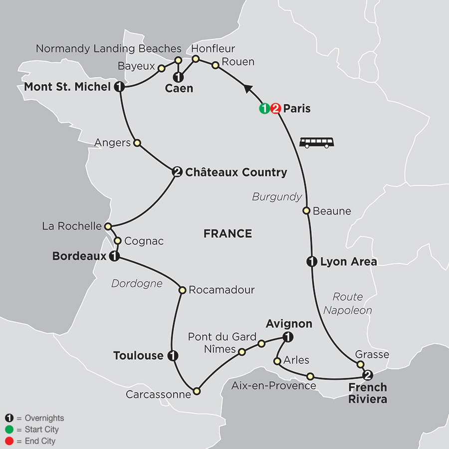 Itinerary map of Grand Tour of France 2018 from Paris to Paris
