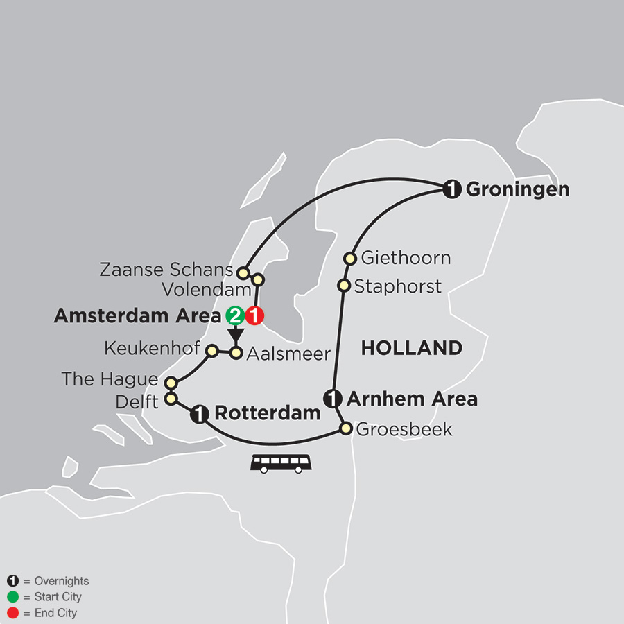 Itinerary map of Best of the Netherlands 2018 from Amsterdam to Amsterdam