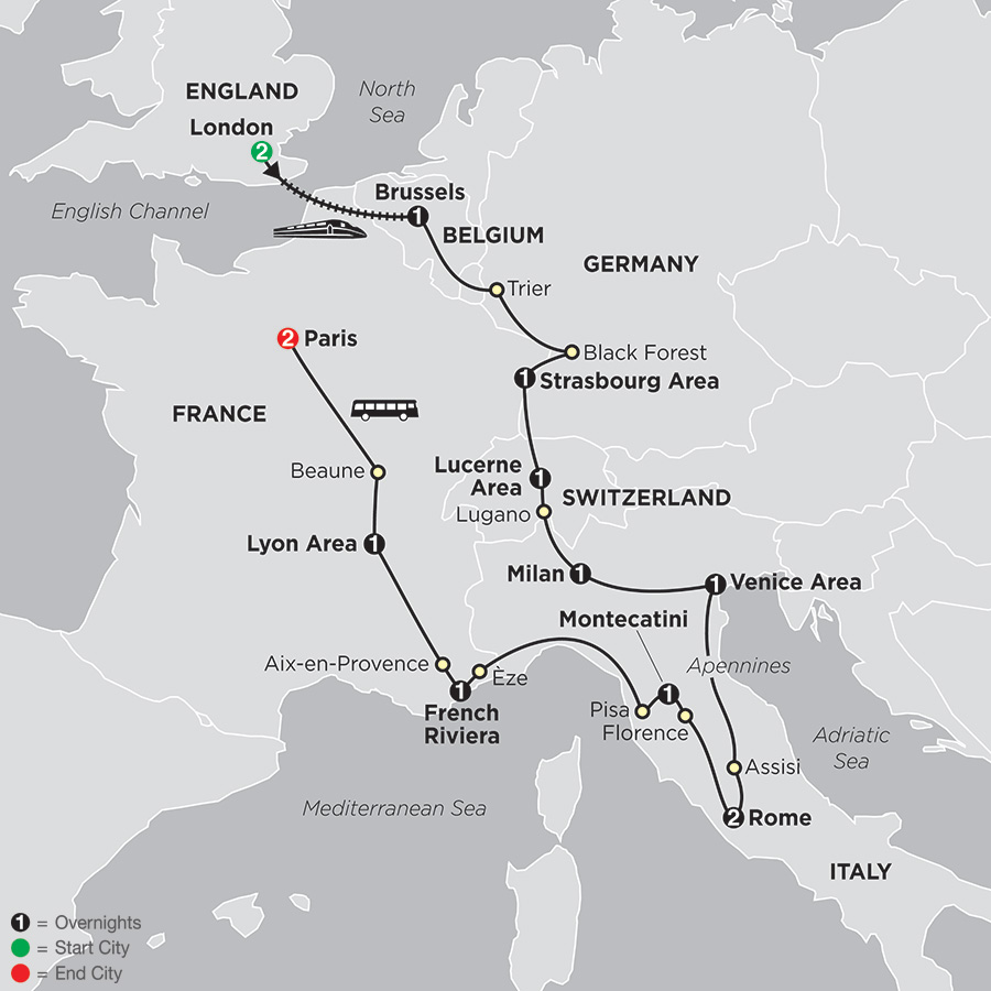 Itinerary map of Wonders Of Europe