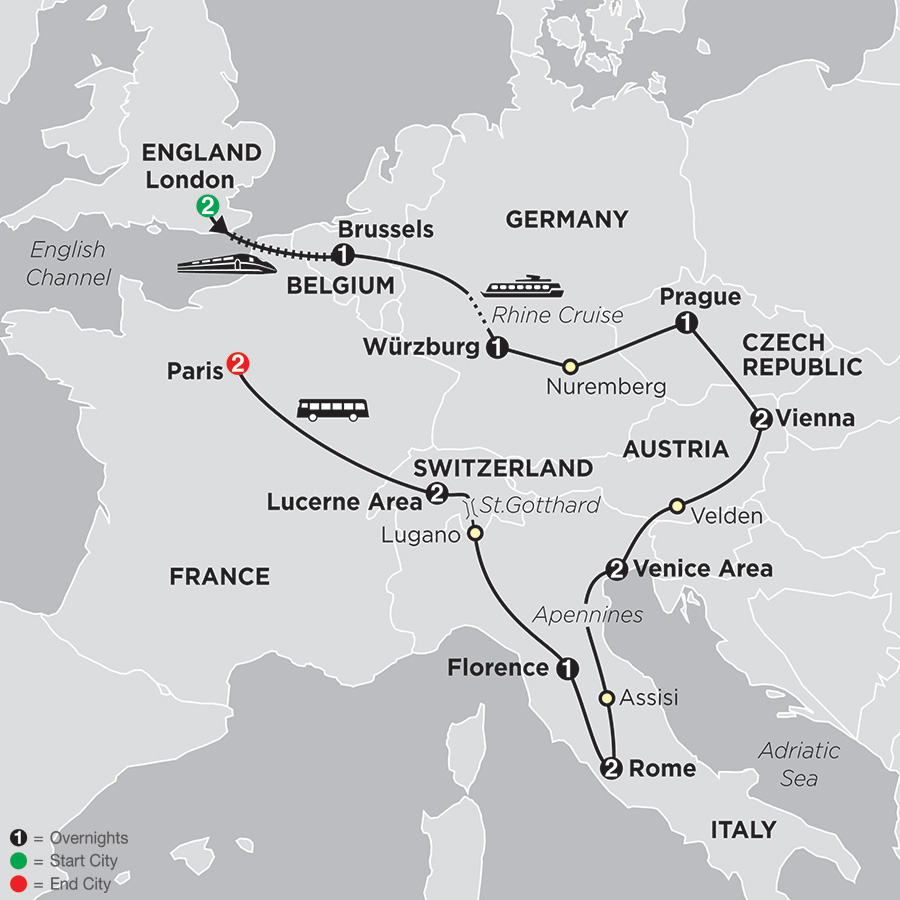 Itinerary map of Cosmopolitan Europe
