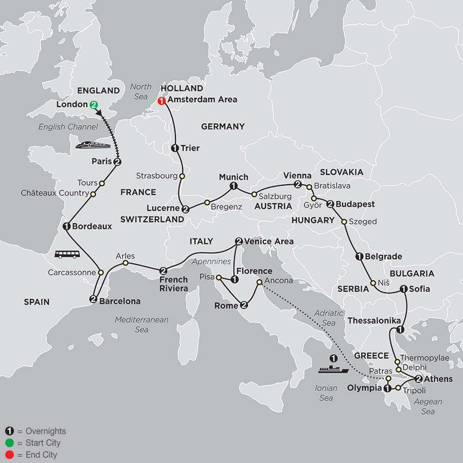 Itinerary map of All About Europe