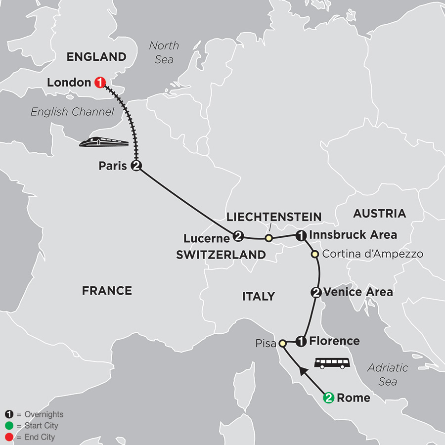 Itinerary map of From Rome To London