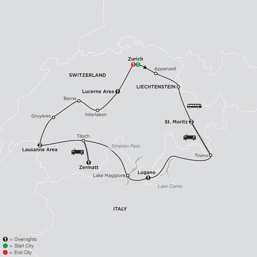 Itinerary map of Grand Tour Of Switzerland