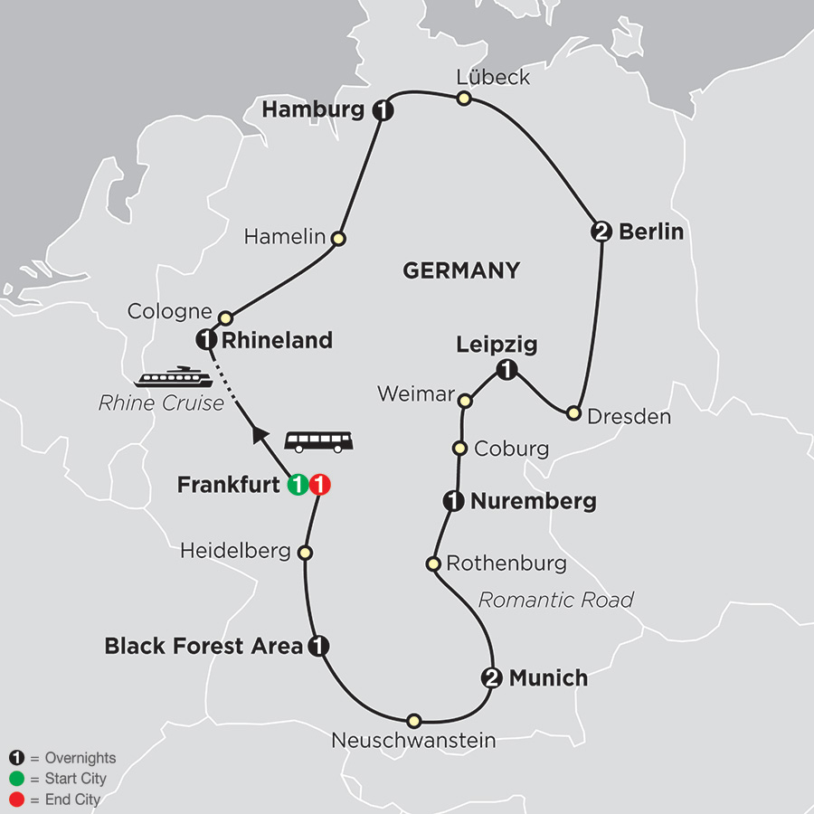Itinerary map of Highlights of Germany 2018 from Frankfurt to Frankfurt