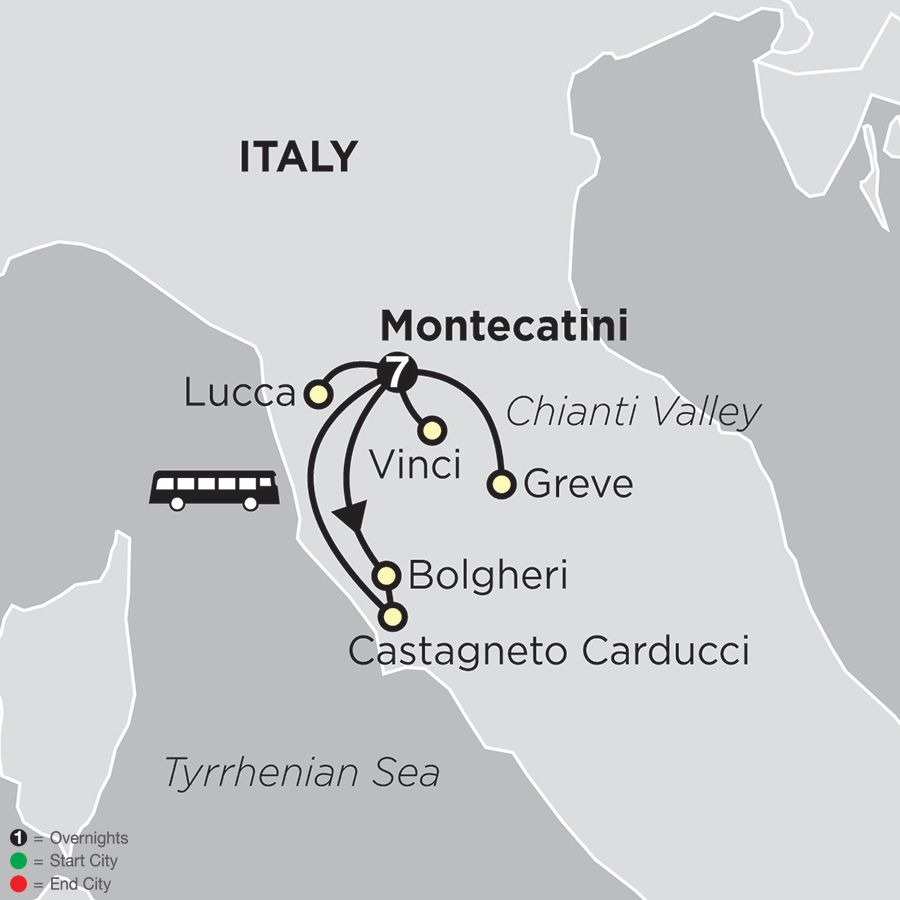 Itinerary map of Gourmet Tuscany 2018 from Montecatini to Montecatini