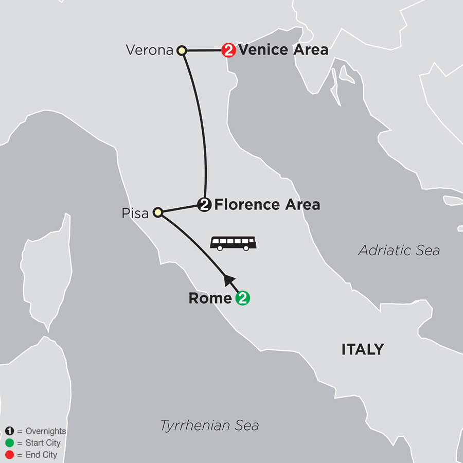 Itinerary map of Rome, Florence, Venice 2018 from Rome to Venice