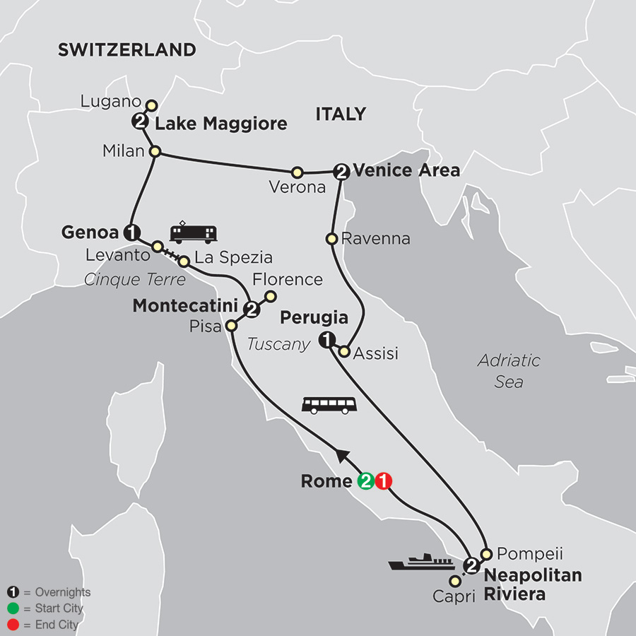Itinerary map of Italy