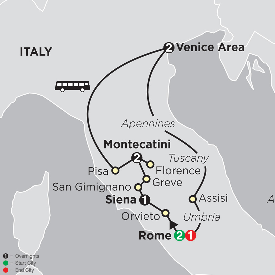 Itinerary map of The Splendors of Italy 2018 from Rome to Rome