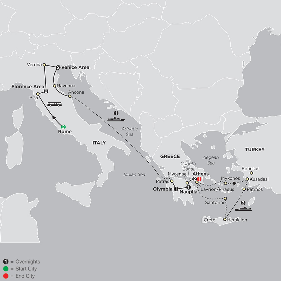Itinerary map of ITALY & GREECE WITH AEGEAN CRUISE