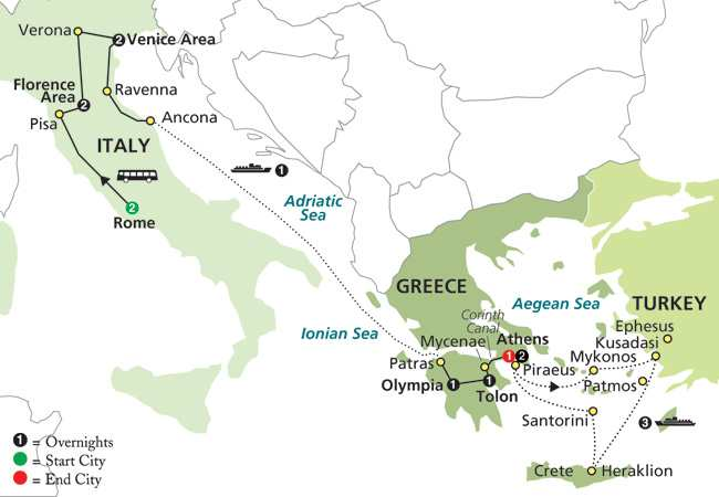 Itinerary map of ITALY & GREECE WITH AEGEAN CRUISE IN OUTSIDE STATEROOM