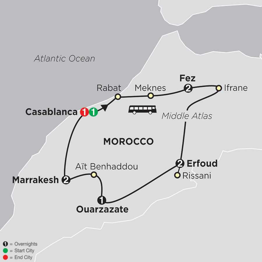Itinerary map of Highlights of Morocco