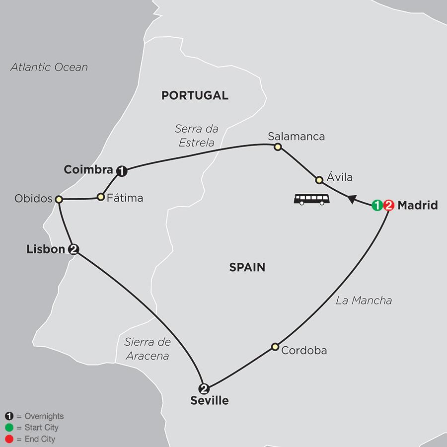Itinerary map of Lisbon, Seville & Madrid