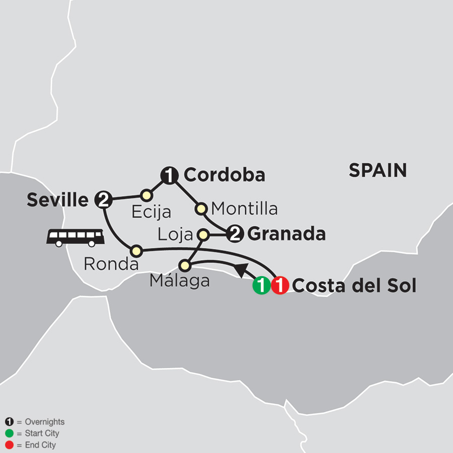 Itinerary map of Highlights of Andalusia 2018 from Costa del Sol to Costa del Sol