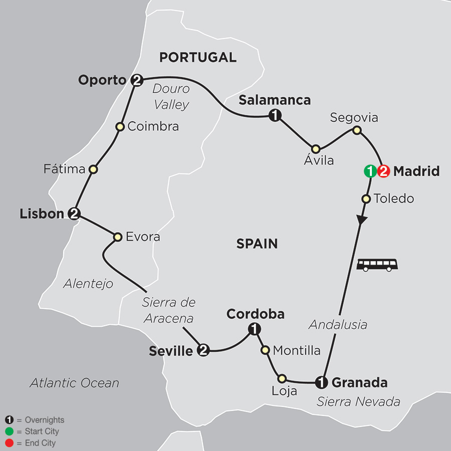 Itinerary map of The Best of Spain & Portugal 2018 from Madrid to Madrid
