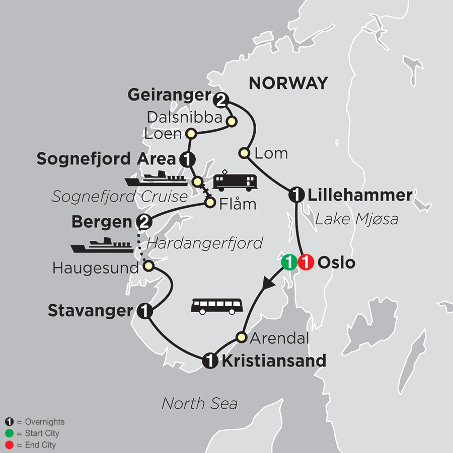 Itinerary map of Norwegian Fjord Explorer 2018 from Oslo to Oslo