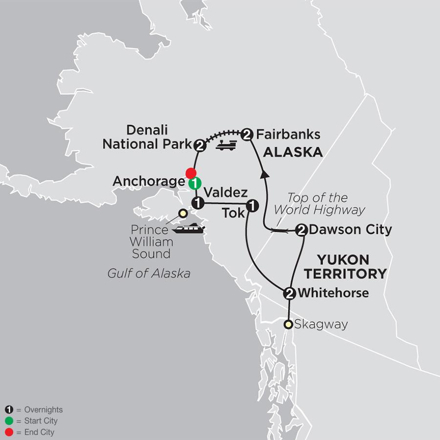 Itinerary map of Alaska & The Yukon