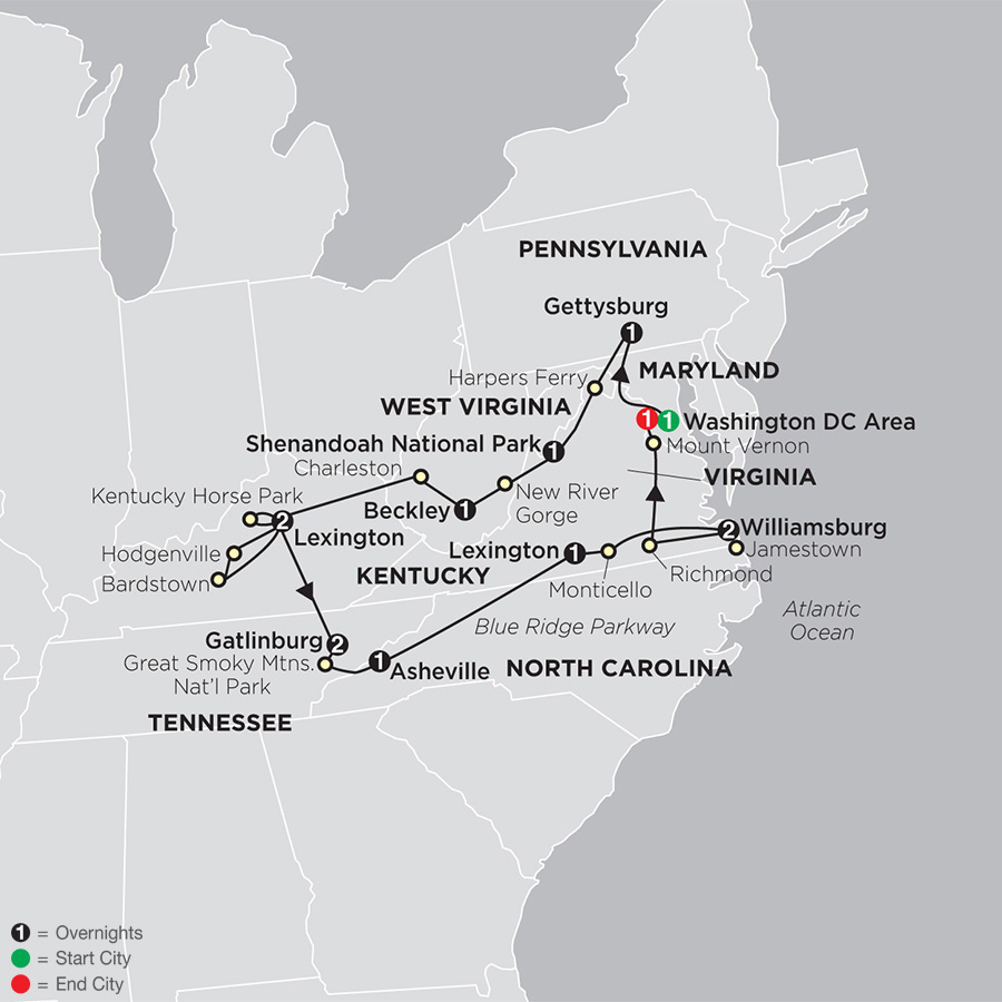 Itinerary map of Historic Trails & Blue Ridge Mountains