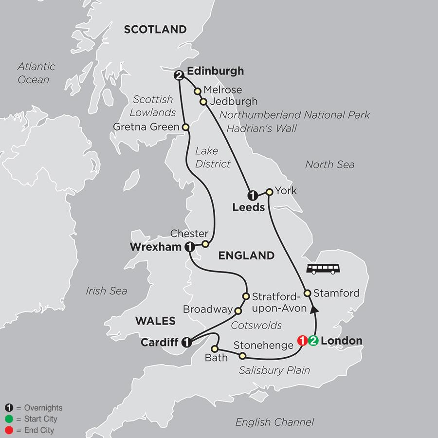Itinerary map of British Panorama
