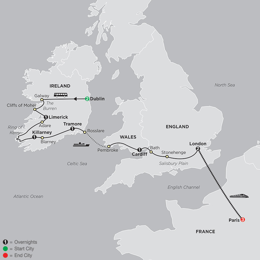 Itinerary map of From Dublin to London with Paris 2018 from Dublin to Paris