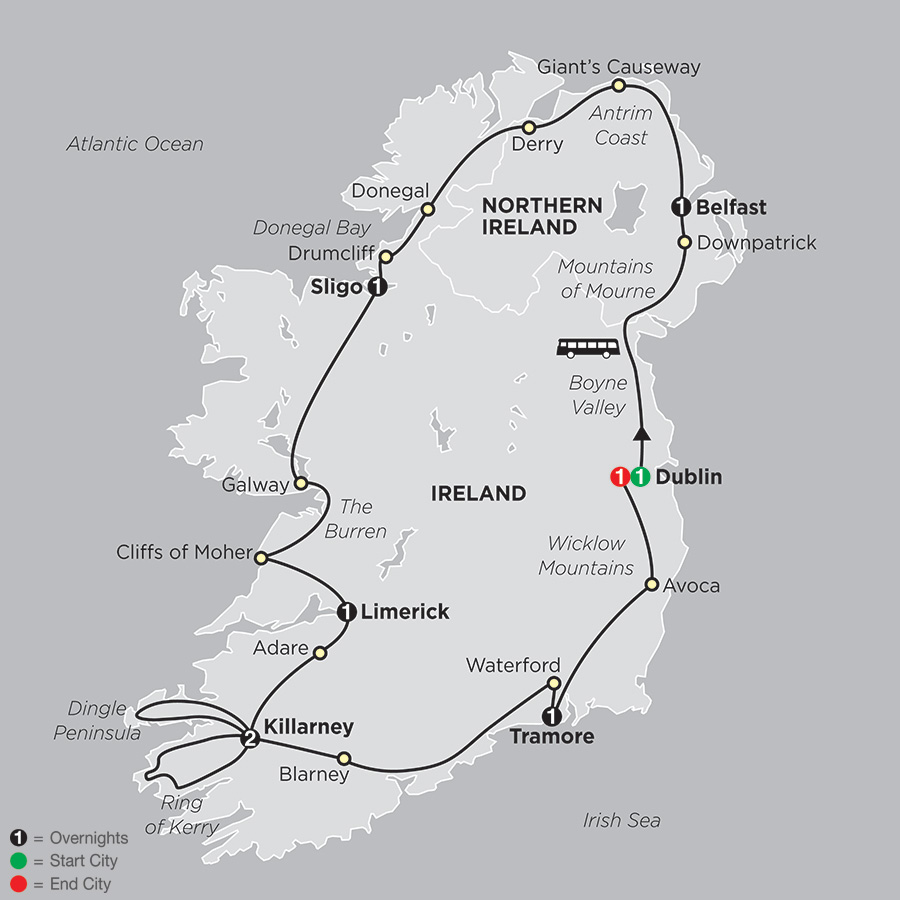 Itinerary map of Irish Explorer