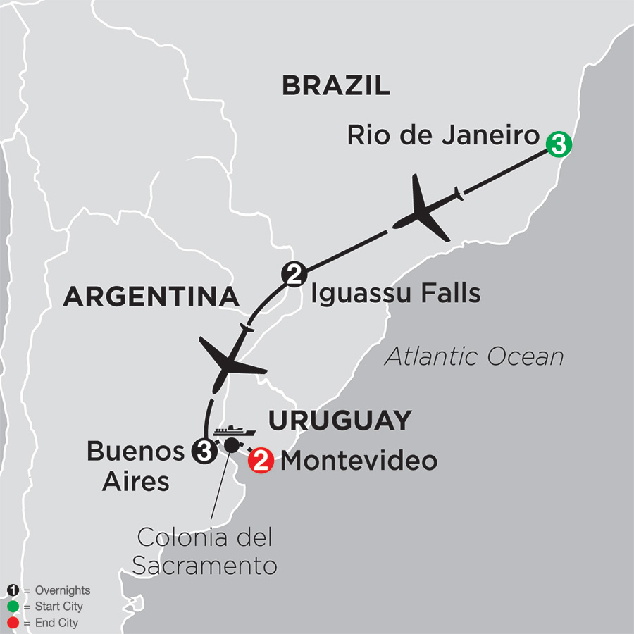 Itinerary map of The Best of Brazil & Argentina with Uruguay 2019 from Rio de Janeiro to Montevideo