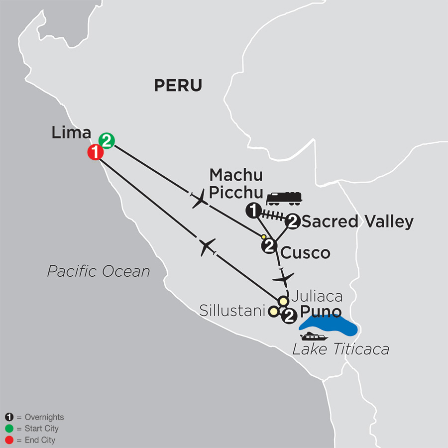 Itinerary map of Mysteries of the Inca Empire 2019 from Lima to Lima
