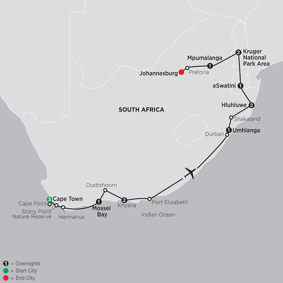 Itinerary map of South Africa: From the Cape to Kruger 2019 from Cape Town to Johannesburg