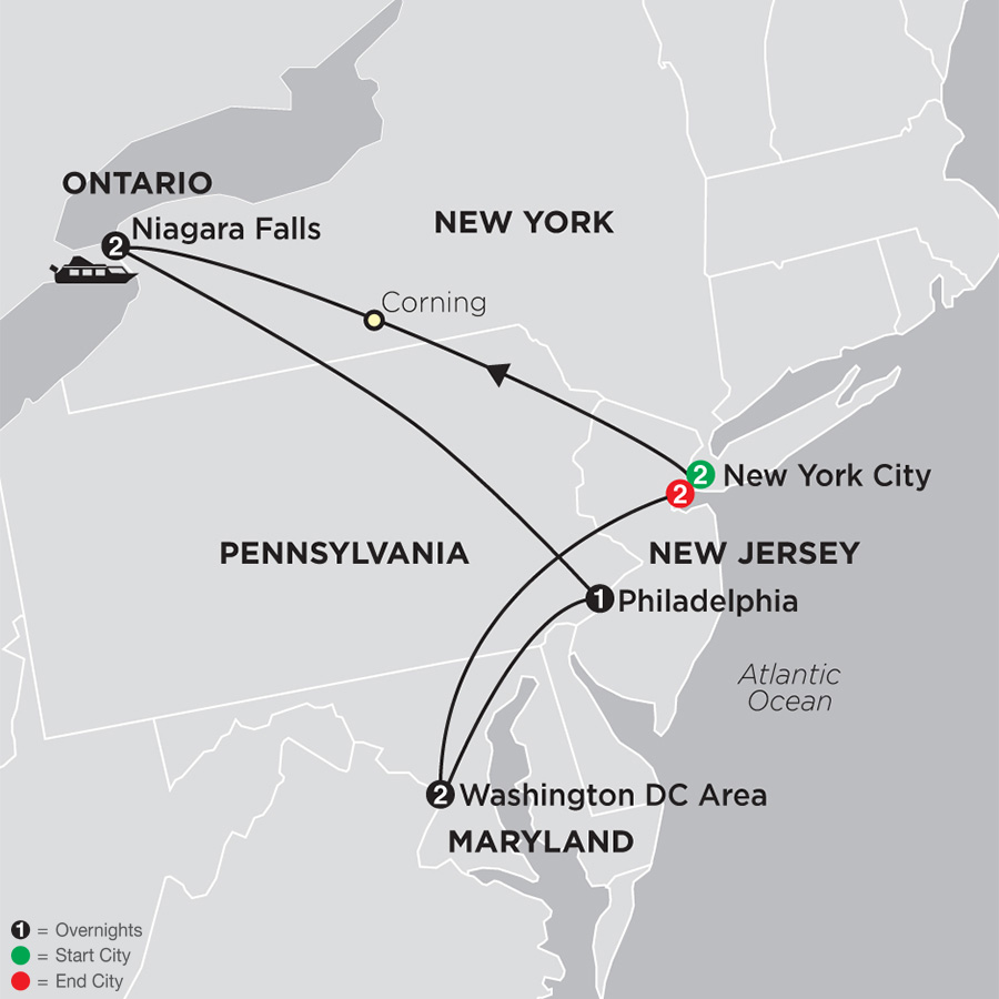 Itinerary map of New York, Niagara Falls & Washington DC with Stay in New York City 2019 from New York City to New York City