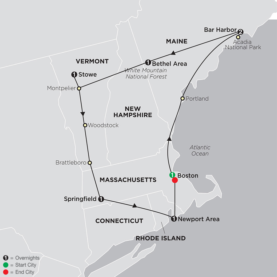 Itinerary map of Classic New England 2019 from Boston to Boston