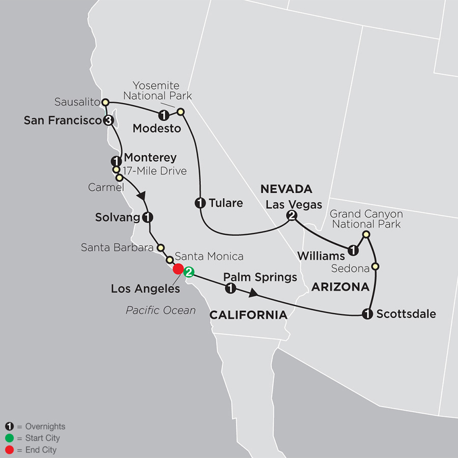 Itinerary map of Golden West Adventure 2019 from Los Angeles to Los Angeles