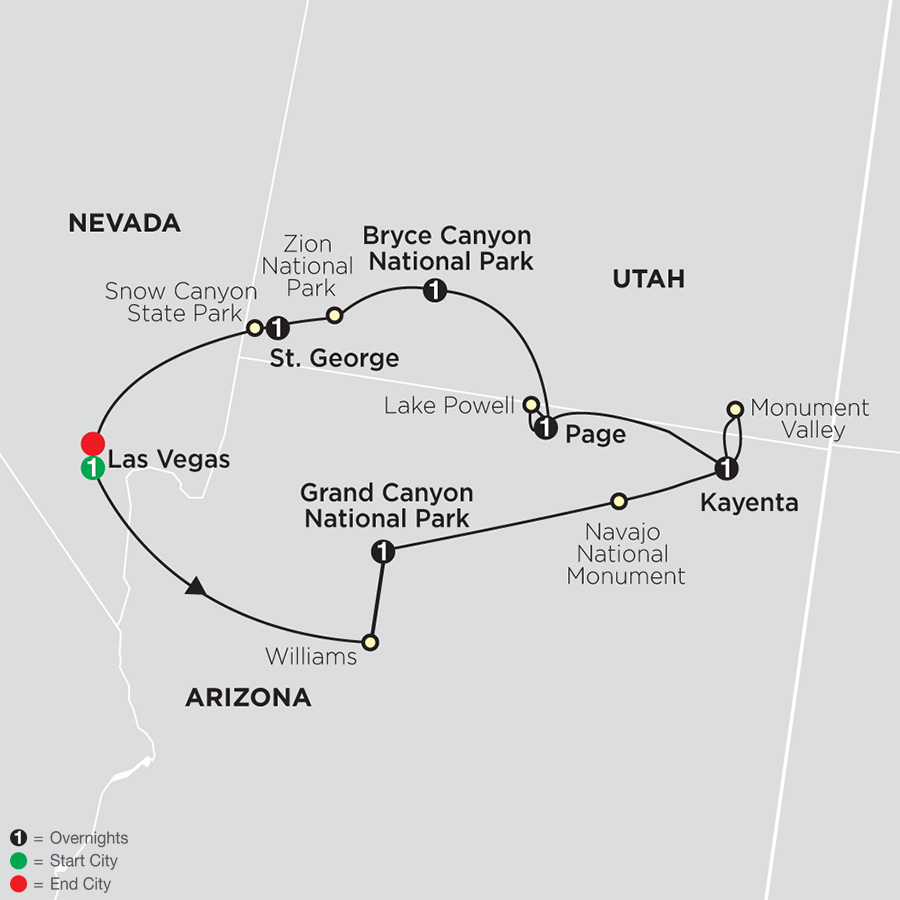 Itinerary map of Highlights of the Canyonlands 2019 from Las Vegas to Las Vegas
